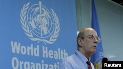 Lance Rodewald, team leader of the Expanded Program on Immunization of WHO China, speaks at a news conference in Beijing, China, March 29, 2016.