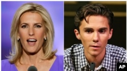 In this combination photo, Fox News host Laura Ingraham speaks at the Republican National Convention in Cleveland on July 20, 2016, left, and David Hogg, a student survivor from Marjory Stoneman Douglas High School in Parkland, Florida, speaks at a rally for common sense gun legislation in Livingston, New Jersey, Feb. 25, 2018.