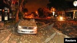 Một chiếc xe bị phá hủy trong vụ nổ ở thành phố Cao Hùng