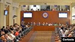 Konsèy Pèmanan l'OEA a nan katye jeneral òganizasyon rejyonal la nan Washington, DC.