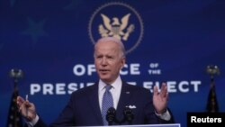 FILE - U.S. President-elect Joe Biden speaks about the recent massive cyber attack against the U.S. and also other Biden administration goals in Wilmington, Delaware, U.S., December 22, 2020. (REUTERS)