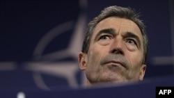 Tổng thư ký NATO Anders Fogh Rasmussen phát biểu tại cuộc họp báo ở Brussels, ngày 9/6/2011