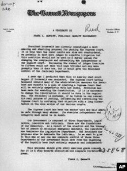 报业老板甘尼特致函罗斯福政府力挺三权分立