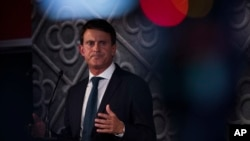 France's former prime minister Manuel Valls speaks during a presentation ceremony in Barcelona, Spain to announce his candidacy for mayor of Barcelona on Sept. 25, 2018.