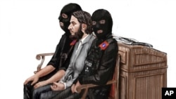 在这张比利时布鲁塞尔一家法庭审理现场的素描中,嫌疑人萨拉赫· 阿布德萨拉姆坐在两名警察之间。(2018年2月5日)
