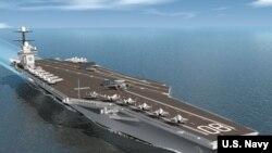 """美國第三艘福特級核動力航母""""企業號""""的模型圖像 (美國海軍"""