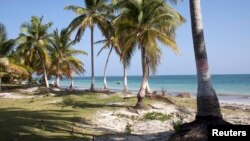 FILE - View of Sable Blanc Beach on Ile-a-Vache island, off Haiti's south coast.