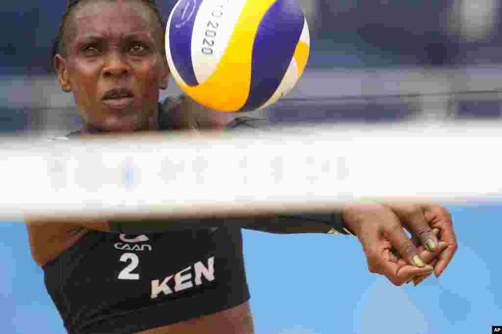 Barackcides, Khadambi, of Kenya, competes during a women's beach volleyball match against Latvia at the 2020 Summer Olympics, Saturday, July 31, 2021, in Tokyo, Japan. (AP Photo/Petros Giannakouris)