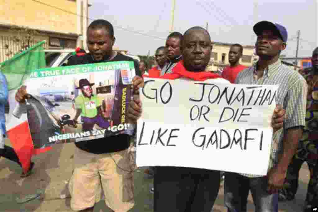 Angry youths protest following the removal of a fuel subsidy by the government, in Lagos, Nigeria, Thursday, Jan. 12, 2012. A union representing 20,000 oil and gas workers in Nigeria threatened Thursday it would shut down all production starting Sunday t