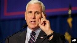 印第安纳州的州长、共和党副总统候选人彭斯 (资料照片)