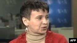Оксана Забужко, в студії Голосу Америки. 2009-й рік