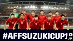 Đội tuyển bóng đá nam Việt Nam tại sân vận động Mỹ Đình hôm 6/12.