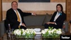 ریا الحسن، وزیر کشور لبنان در دیدار با مایک پمپئو