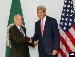 克里国务卿会见阿拉伯联盟秘书长阿拉比。