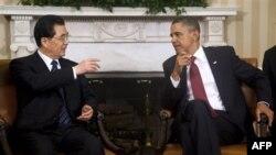 Tổng thống Hoa Kỳ Barack Obama gặp Chủ tịch Trung Quốc Hồ Cẩm Ðào tại Tòa Bạch Ốc, ngày 19/1/2011