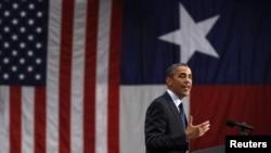 Presiden AS Barack Obama berbicara pada acara kampanye San Antonio, Texas, Selasa (17/7).
