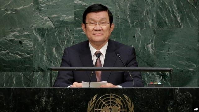 Chủ tịch Việt Nam Trương Tấn Sang phát biểu trước Đại hội đồng Liên Hiệp Quốc hôm 25/9/2015.