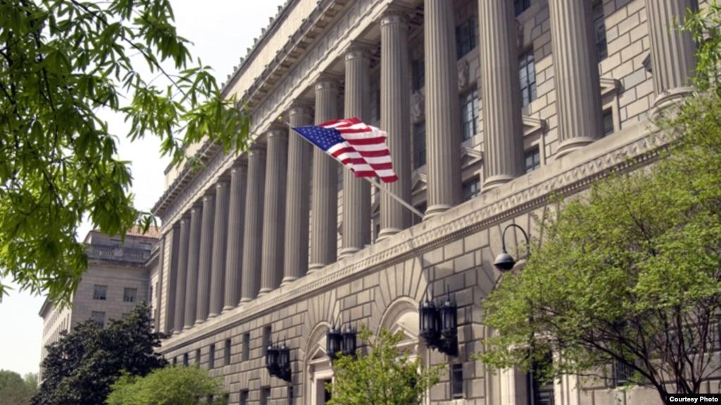 位於首都華盛頓的美國商務部大樓。 美國商務部在2014年把成都嘉石科技有限公司列入黑名單。