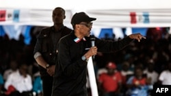 Incumbent Rwandan President Paul Kagame gives a speech during a campaign rally July 31, 2017, in Gakenke, Rwanda, ahead of the August 4 presidential election.