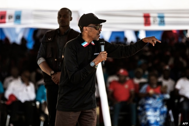 FILE - Incumbent Rwandan President Paul Kagame gives a speech during a campaign rally, July 31, 2017 in Gakenke, Rwanda, ahead of August 4 presidential election.