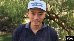 David Wang of Chinese Americans for Trump is thrilled with the Republican victory in the presidential election. (M. O'Sullivan/VOA)
