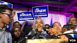 Ilhan Omar addresses supporters after her historic primary election victory to represent Minnesota's 5th District in the U.S. Congress in Minneapolis, Aug. 14, 2018.