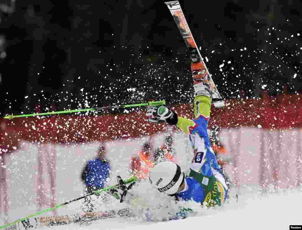 Misel Zerak of Slovenia crashes during his first run of the men's Giant Slalom event at the Alpine Skiing World Cup in Kranjska Gora, Slovenia.