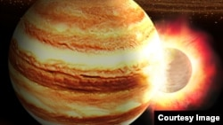 This artist's impression of portrays a collision between a young Jupiter and a massive still-forming protoplanet in the early solar system. (Illustration by K. Suda & Y. Akimoto/Mabuchi Design Office, Courtesy of Astrobiology Center, Japan)
