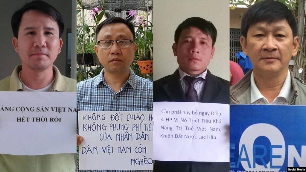 Từ trái qua, Phạm Văn Trội, Nguyễn Bắc Truyển, Nguyễn Trung Tôn và Nguyễn Minh Đức (Nguồn Facebook Lê Nguyễn Hương Trà)