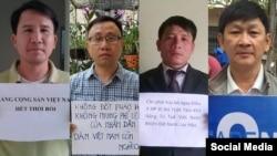 Các nhà hoạt động Phạm Văn Trội, Nguyễn Bắc Truyển, Nguyễn Trung Tôn và Trương Minh Đức.