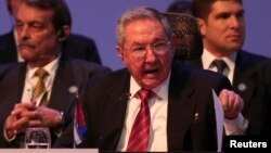 Cuban President Raul Castro speaks during the Community of Latin American and Caribbean States summit in San Antonio de Belen, Costa Rica, Jan. 28, 2015.