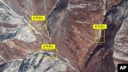 북한 함경북도 길주군 풍계리 핵실험장의 지난해 인공위성 사진,