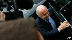 Suspended FIFA President Sepp Blatter arrives for a news conference in Zurich, Switzerland, Monday, Dec. 21, 2015.