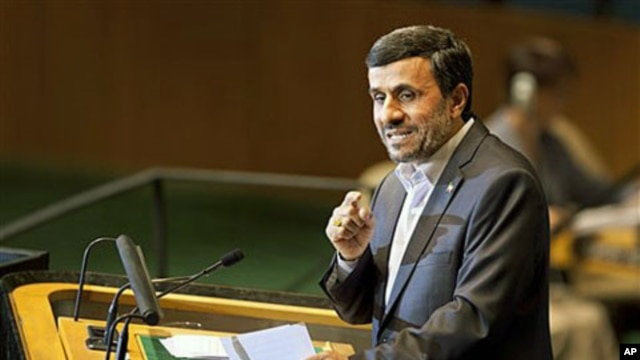 Iranian President Mahmoud Ahmadinejad speaks during the 66th session of the United Nations General Assembly at U.N. headquarters, September  22, 2011.