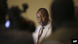 Francois Rucogoza, delegation leader of Congolese M23 rebels, at peace talks with DRC officials, Kampala, Uganda, Dec. 9, 2012.