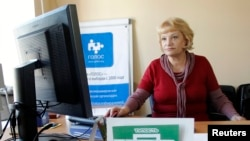 Liliya Shibanova, leader of Russian election watchdog Golos, works at her office in Moscow, Russia, Sep. 19, 2012.