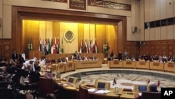 General view showing the Arab League's emergency meeting in Cairo, Egypt, where foreign ministers discussed the possibility of imposing a no-fly zone over Libya to protect the civilian population from the Gadhafi regime's fighter jets, March 12, 2011