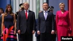 美國總統川普與夫人訪波蘭與波蘭總統杜達會晤。