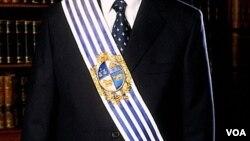 La banda se confecciona con seda blanca y celeste y lleva el escudo nacional con rebordes y hojas de olivo en hilo dorado.