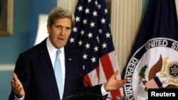 Državni sekretar Džon Keri govori o situaciji u Siriji u Stejt Departmentu