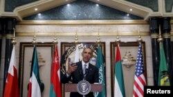 Presiden AS Barack Obama dalam KTT Dewan Kerjasama Teluk (GCC) di Riyadh, Arab Saudi (21/4).