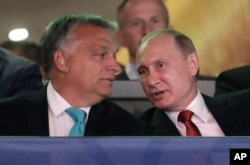 FILE - Russian President Vladimir Putin, right, talks to Hungarian Prime Minister Viktor Orban after arriving at the World Judo Championships in Budapest, Hungary, Aug. 28, 2017.