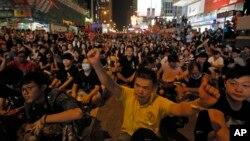 29일 홍콩 몽콕 광장에서 중국의 홍콩행정장관 선거 정책에 반대하는 대규모 시위가 열렸다.