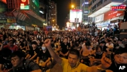 Thousands of pro-democracy protesters gather at Hong Kong's Mongkok district, Sept. 29, 2014.