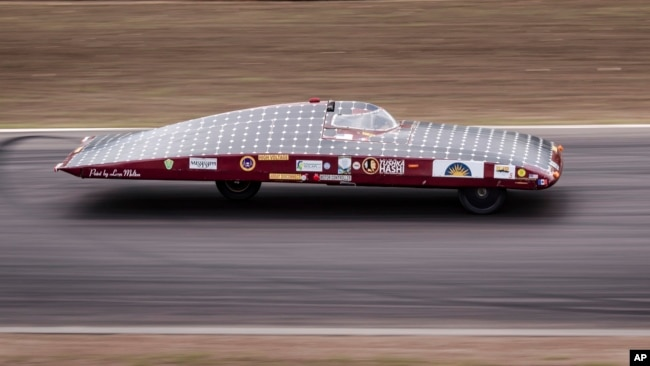 The Mississippi Choctaw High School Solar Car Team, one of several from the U.S., competes during the qualification lap for the 2017 World Solar Challenge at Hidden Valley race track in Darwin, Australia, Oct. 7, 2017.
