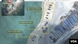Hình ảnh vệ tinh cho thấy Trung Quốc triển khai các hỏa tiễn địa đối không trên đảo Phú Lâm. (Ảnh: Stratfor)