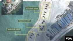 Hình ảnh vệ tinh cho thấy Trung Quốc triển khai hệ thống radar, và hỏa tiễn địa đối không trên đảo Phú Lâm thuộc quần đảo Hoàng Sa ở Biển Đông.