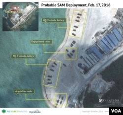 Satellite imagery analysis by geopolitical intelligence firm Stratfor shows probable surface-to-air launcher batteries and associated radar by China on Woody Island in the South China Sea. (Courtesy of Stratfor)