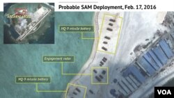 FILE - Satellite imagery analysis by geopolitical intelligence firm Stratfor shows probable surface-to-air launcher batteries and associated radar by China on Woody Island in the South China Sea. (Courtesy of Stratfor)