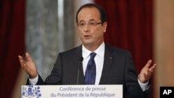 法國總統奧朗德11月13號在記者會上講話